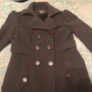 Pea coat. Gray double-breasted